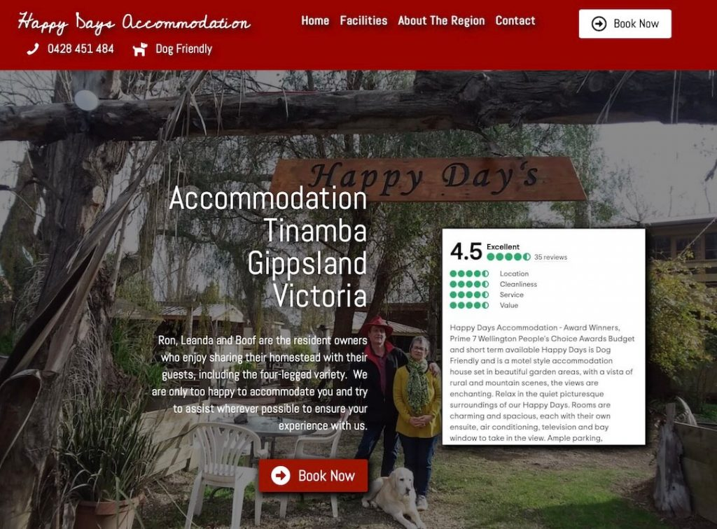Happy Days Accommodation Website Design